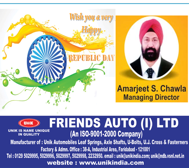 Republic Day greeted by friends auto ind.