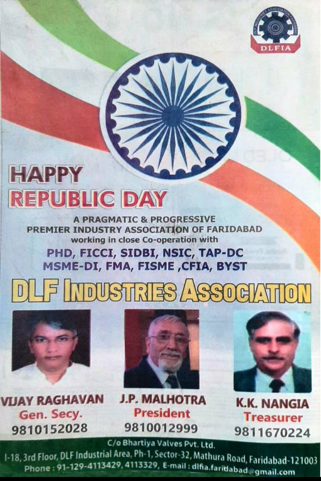 Repubic day wish by dlf assocation faridabad